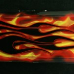 Vintage Electric Guitar Case - Hot Rod Flames - front horizontal - reforgedguitars.com