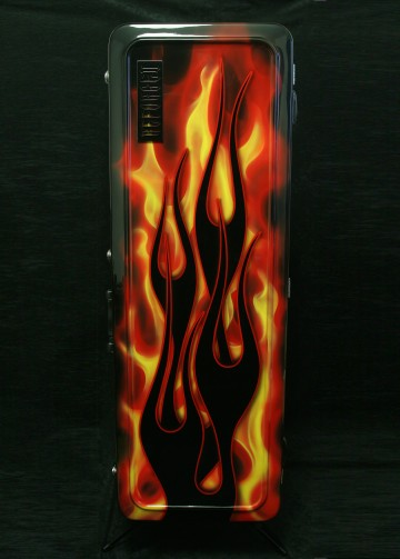 Vintage Electric Guitar Case - Hot Rod Flames - front vertical - reforgedguitars.com