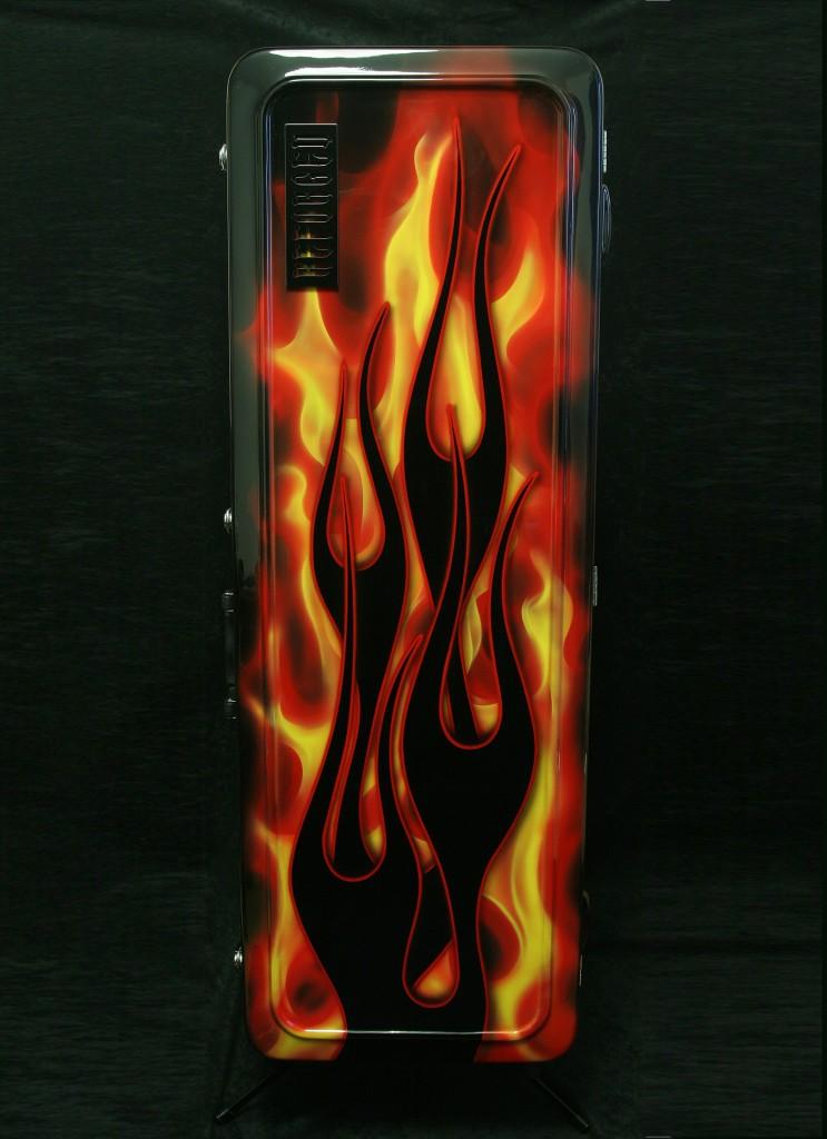 Vintage Electric Guitar Case - Hot Rod Flames - front vertical - reforgedguitars.com